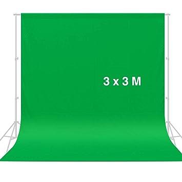CRAPHY 3 mx 3 m Pantalla de Fondo Verde, Chromakey Muselina Telón de Fondo Verde para Estudio Fotografía de Foto Video (Sin Soporte)