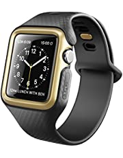 Clayco Apple Watch Band 42 mm, [Hera Series] Ultra Slim Protective Shock Resistant Bumper Case with Strap Bands for 42mm Apple Watch Series 3 2017/Series 2/Series 1 (Black/Gold)