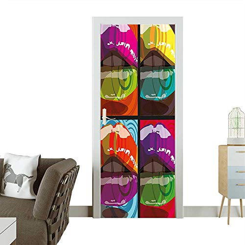 Door Sticker Wall Decals Beautiful Women Hot Sexy Big Lips Collage Abstract Background Image Artwork Easy to Peel and StickW23.6 x H78.7 ()