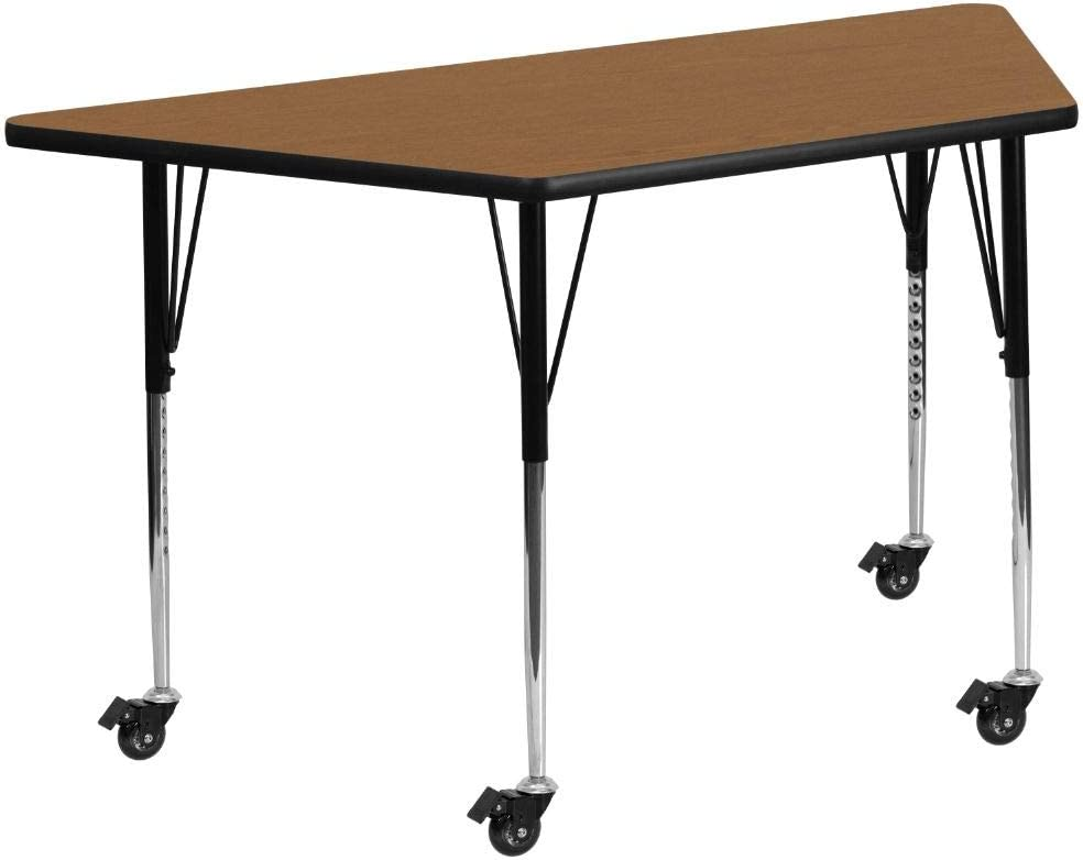 Flash Furniture Mobile 29.5''W x 57.25''L Trapezoid Oak Thermal Laminate Activity Table - Standard Height Adjustable Legs