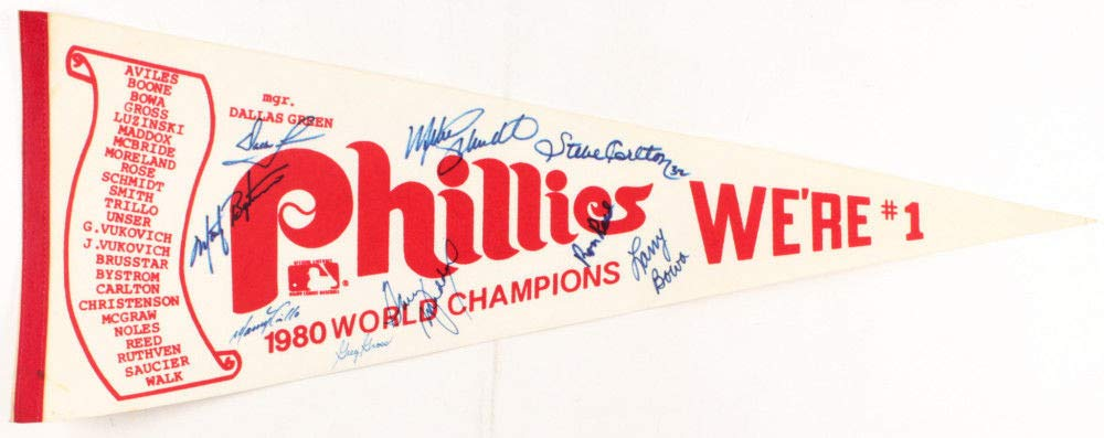 1980 Philadelphia Phillies World Series Pennant Flag Team Autographed Signed By 9 JSA Authentic Aloa