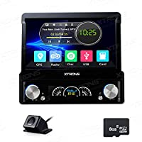 XTRONS Single 1 Din 7 Inch Digital Motorized Detachable HD Touch Screen Car Stereo In Dash DVD Player GPS Radio Map Card & Reversing Camera Included