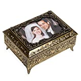 Bronze Metal Photo Frame Lid Jewelry Music Box - Plays Song My Heart Will Go On