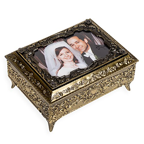 Bronze Metal Photo Frame Lid Jewelry Music Box - Plays Song My Heart Will Go On by Splendid Music Box Co.