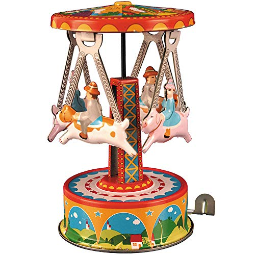 Alexander Taron Importer MF356 - Collectible Tin Toy - Carousel with Dogs - 4.5
