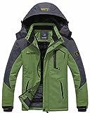 Wantdo Men's Waterproof Mountain Jacket Fleece Windproof Ski Jacket US L  Grass Green L