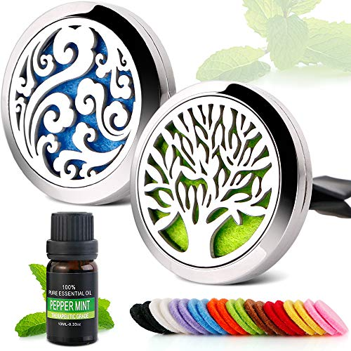 2PCS Aromatherapy Essential Oil Stainless Steel Car Diffuser Vent Clip with 10ml Peppermint Essential Oils