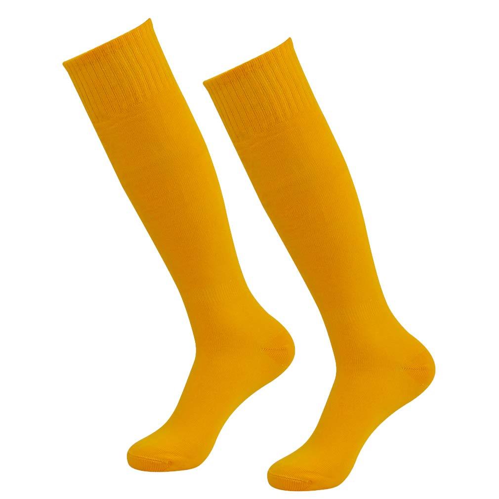 Mens Soccer Socks, RTZAT Men's Athletic Long Tube Basketball Knee High Football Socks, 2 Pairs Yellow by RTZAT