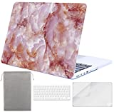 Sykiila - Compatible MacBook Pro 13 Inch with Retina Display Case (for MacBook Model: A1425 / A1502) Hard Cover 4 in 1 with HD Screen Protector + TPU Keyboard Cover + Sleeve - Pink Marble