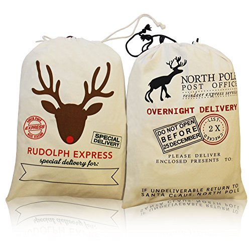 "2 Pack Christmas Santa Gift Sack Reindeer/ Rudolph Canvas Personalized Bag with drawstring Large Size 28""x20"""