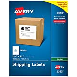 Avery Full Sheet Shipping Labels for Copiers, 8.5 x 11 Inches, White, Box of 100 (05353)