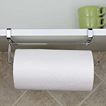 Paper Towel Hanger Holder, Stainless Steel Kitchen Roll Paper Towel Holder Tissue Hanger Organizer Rack for Kitchen Under Cabinet Over Door (Paper towel holder-A)