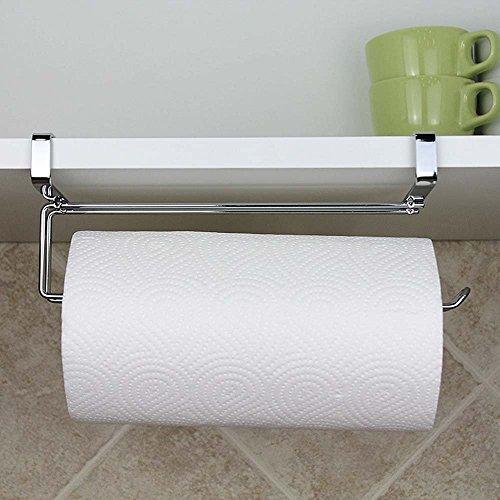 SYIDINZN Paper Towel Hanger Holder, Stainless Steel Kitchen Roll Paper Towel Holder Tissue Hanger Organizer Rack Kitchen Under Cabinet Over Door (Paper Towel ()