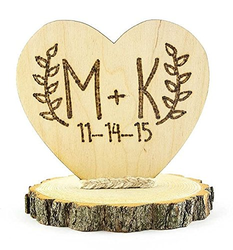 Personalized Wood Custom Rustic Wedding Cake Topper