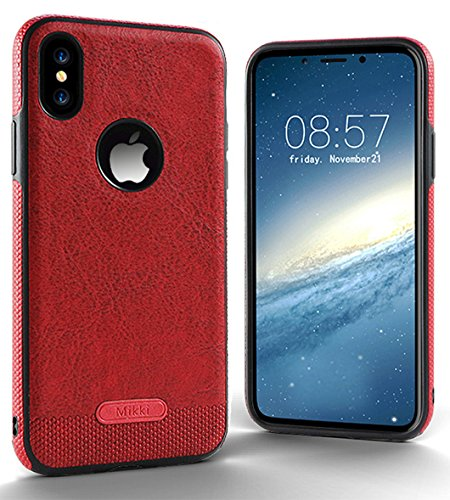 SunYu iPhone XS/X Case Luxury Leather Grain with Full Body Protective and Anti-Scratch and Non-Slip Design Design for Apple iPhone XS (Dark Red)