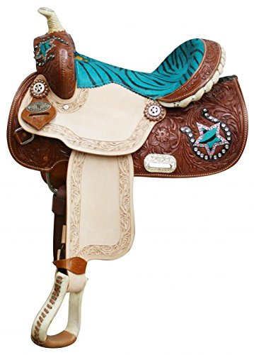 """Double T 13"""" Teal Turquoise Blue Zebra Print Leather Barr..."""