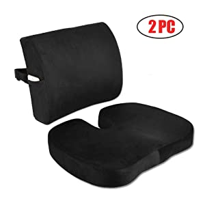 Sunfayzz Ergonomic Seat Cushion and Lumbar Support Pillow for Office Chair,Car and Truck,Orthopedic Memory Foam,Relief Lower Back,Coccyx Tailbone,Sciatica Pain with Adjustable Strap(Black)