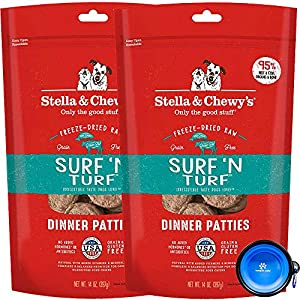 Stella & Chewy's Freeze Dried Raw Dinner Patties Dog Food 2 Pack (28oz Total) Bundle Including Hotspot Pet Travel Bowl - Made in The U.S.A (Surf N Turf)