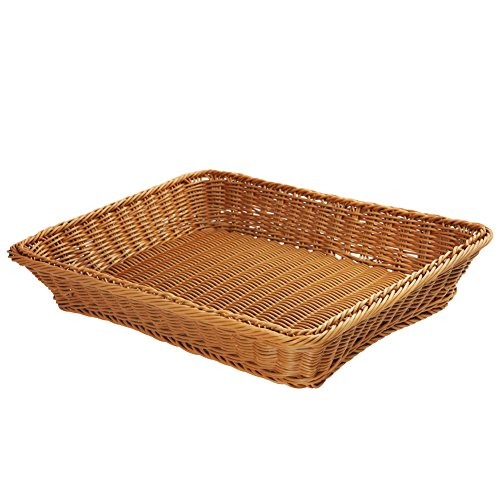 Wicker Bread Basket-Woven Tabletop Food Fruit Vegetables Serving Basket, Restaurant Serving,Brown