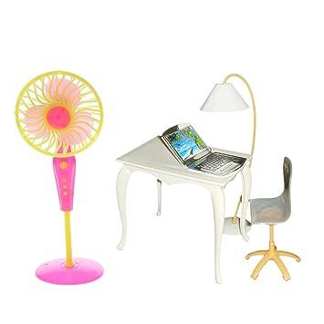 Miniatur Bürostuhl Tisch Pc Lampe Und Bodenventilator