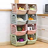 NOBLE DESIGNS Stackable Storage Bins for Pantry, Vegetable/Fruits and Toys. 'Set of 4' Plastic Storage Baskets | with Covers