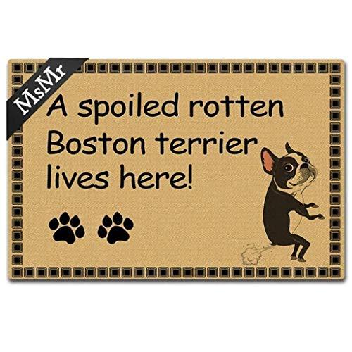 MsMr Door Mat Funny Entrance Floor Mat A Spoiled Rotten Boston Terrier Lives Here! Doormat Home Decorative Indoor Ourdoor Doormat 30x18 Inch ()