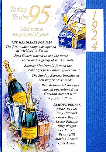 Azul 95th Tarjeta de cumpleaños - 1920 fue un año muy ...