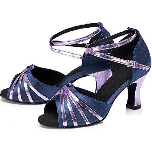 Zhuhaixmy Frauen Erwachsene lateinisch Tanzschuhe Square Dance Soft Ballroom Anti-Rutsch Dancing Shoes Purple 5cm