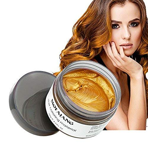 Mofajang Hair Wax Dye Styling Cream Mud, Natural Hairstyle Color Pomade, Washable Temporary, Gold -