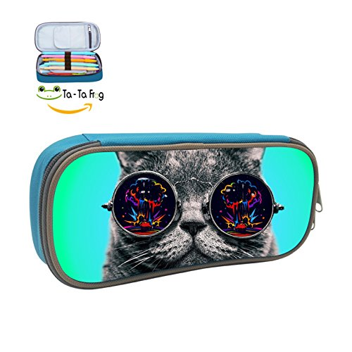 Sunglasses Cool Cats Big Capacity Pencil Case Pen Bag Box For Student Children - Jake Sunglasses Blues
