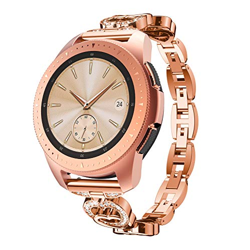 Elobeth Compatible Galaxy Watch 42mm Stainless Steel Watch Band Alloy Crystal Rhinestone Diamond Bracelet Strap Replacement M810/815 Fitness Watch