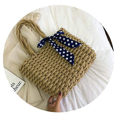 Fashion Scarves Straw Bags for Women Rattan Weave Female Shoulder Bags Wicker Handbags,blue (Cheap Singapore Baskets Rattan)