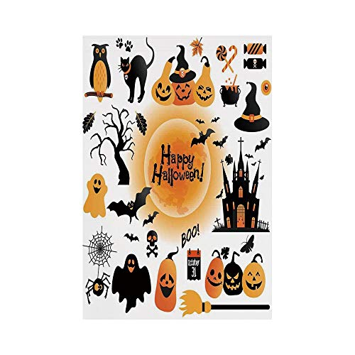 Polyester Garden Flag Outdoor Flag House Flag Banner,Halloween Decorations,All Hallows Day Objects Haunted House Owl and Trick or Treat Candy,Orange Black,for Wedding Anniversary Home Outdoor Garden D -
