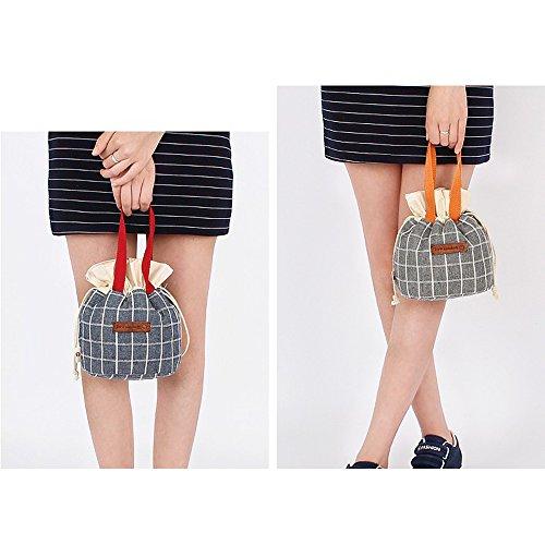 qearly creativa Portable Demin–Borsa pranzo borsa porta pranzo Kuehl Borsa Tote Borsa blu cavo