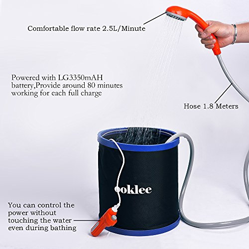 Amazon.com : OOKLEE Portable Outdoor Camping Shower with Rechargeable Water Pump and Build-in Water Filtration System for Camping, Hiking, Travel, Beach, ...