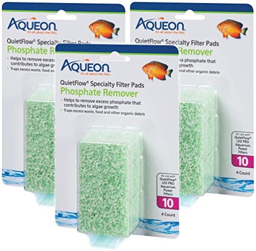 ((3 Pack) Aqueon QuietFlow Phosphate Remover Specialty Filter Pads, Size 10, 4 Pads Per Pack)