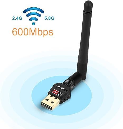 rhorawill 600 Mbps inalámbrica Wifi de doble banda 2.4 G/5.8G USB ...