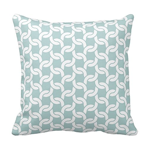 Cateyes Decorative Cable Knit Crochet Link Pattern in Sea Glass Cotton Throw Pillowcase