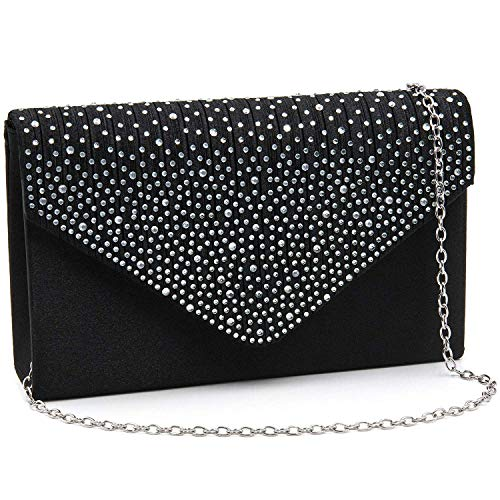 Milisente Clutch Purses for Women evening Glitter Wedding Purse Crystal Envelope Clutches Shoulder Bags (Black)