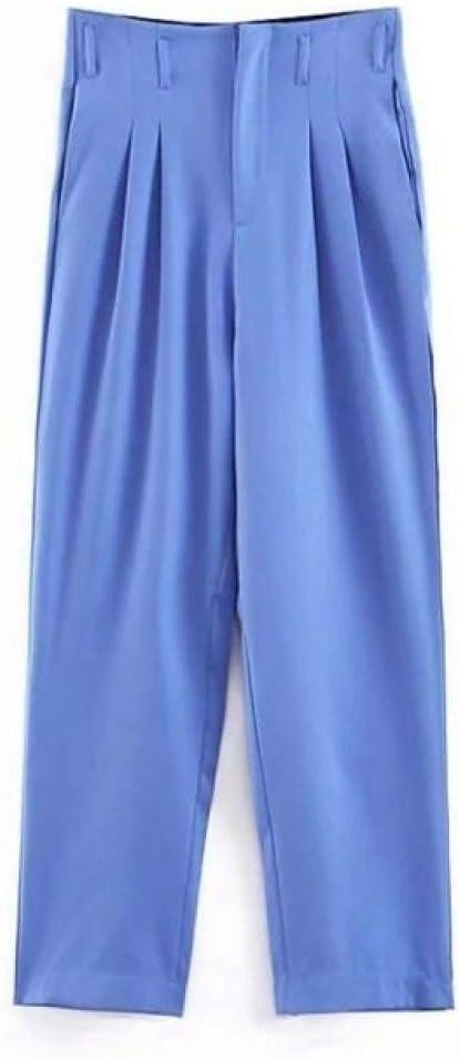 Yrfdm Abrigo Mujeres Azul Traje Pequeno Chaqueta Con Un Solo Boton Chaqueta De Cintura Alta Pantalones De Bolsa De Papel Office Lady Conjunto Formal De Dos Piezas Solo Pantalon S Amazon Es Deportes Y