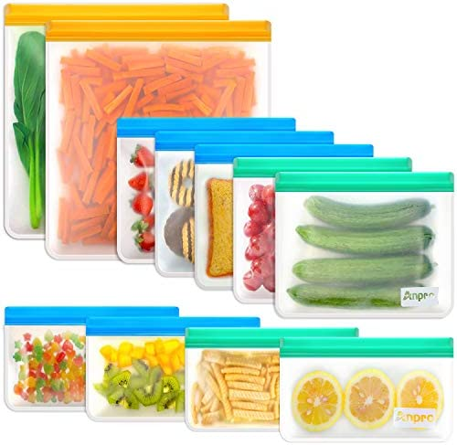 Reusable Food Storage Bags Sandwich - Anpro (11 Pack) Snack Bag for Kids with Double Zipper Seal Lock, Reusable Freezer Bags & Leakproof Lunch Bags