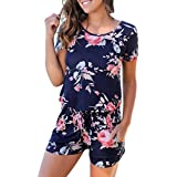 RAISINGTOP Women Floral Print Short Sleeve Jumpsuit Summer Spring Playsuit Rompers Outfits Casual Jumpers Clothing (Navy, US 10-12)