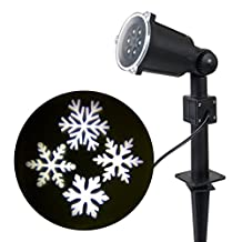 WED White Snowflakes Spotlight, LED Landscape Projector Light for Indoor/Outdoor, Laser Christmas Lights