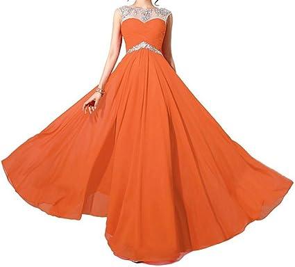 Endofjune Long Chiffon Two Shoulder Appliques Prom Dress US-0 Orange