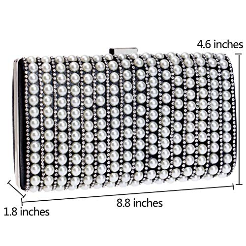 Ladies Pearls PU Chain Wallet Clutch Purse Blue Bags Dress Bags Womens Evening Wedding qgwEPw