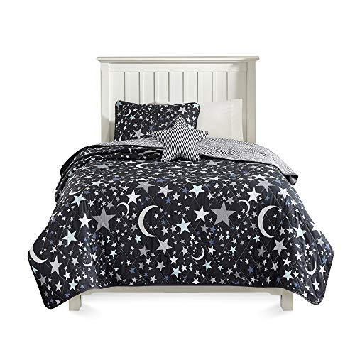 JLA Home INC Starry Night Coverlet Set, Full/Queen, Charcoal -