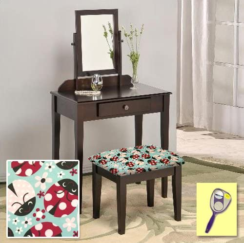 The Furniture Cove New Cappuccino Espresso Finish Make Up Vanity Table with Mirror Themed Bench Lady Bug