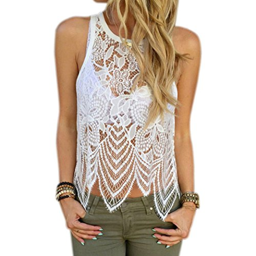 AIMTOPPY Fashion Women Lace Crochet Vest Tank Top Casual Sleeveless Blouse (M, - Top Name Brand