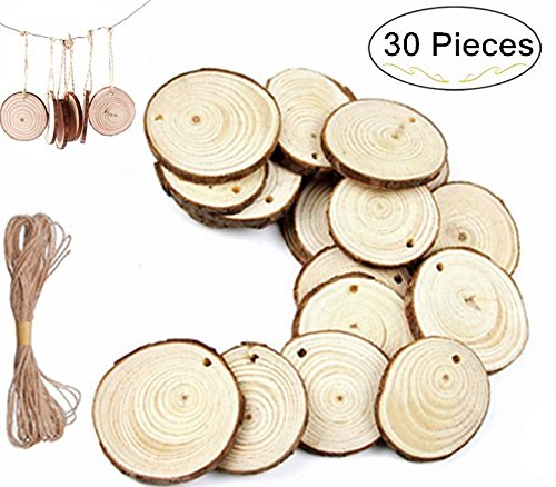 Magnolora 30 Pieces Unfinished Mini Natural Wood Slices Circles with Tree Bark Round Log Discs Predrilled with Holes for Christmas Ornaments, Arts & Crafts, Home Hanging Decorations with 33 Feet Jute (Bark Ornament)