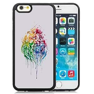Fashionable Custom Designed iPhone 6 4.7 Inch TPU Phone Case With Paint Illustration Lion Head_Black Phone Case